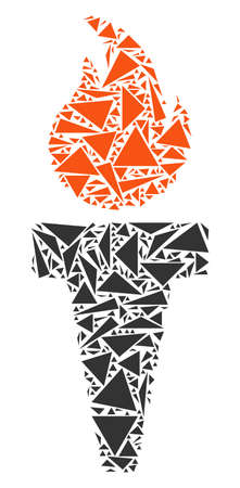 Freedom fire torch mosaic of triangle elements in various sizes and shapes. Vector polygons are arranged into freedom fire torch illustration. Geometric abstract vector illustration. Illustration