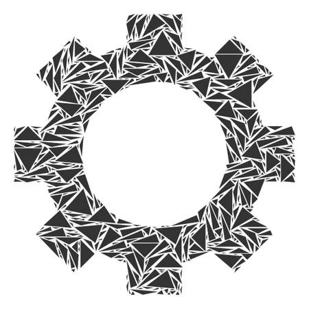 Gear mosaic of triangle elements in various sizes and shapes. Vector polygons are grouped into gear mosaic. Geometric abstract vector illustration.