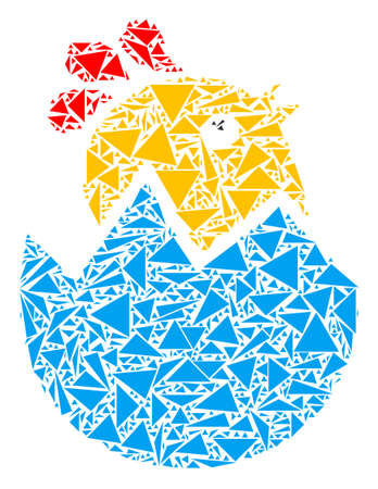 Hatch chick mosaic of triangle elements in different sizes and shapes. Vector polygons are organized into hatch chick illustration. Geometric abstract vector illustration.  イラスト・ベクター素材