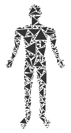 Human mosaic of triangle items in variable sizes and shapes. Vector triangles are arranged into human composition. Geometric abstract vector illustration. Vettoriali