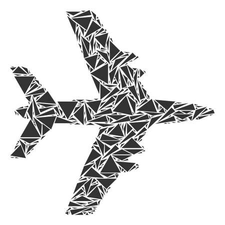Jet plane collage of triangle elements in various sizes and shapes. Vector triangles are organized into jet plane illustration. Geometric abstract vector illustration.