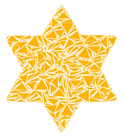 Six pointed star mosaic of triangle items in variable sizes and shapes. Vector polygons are arranged into six pointed star illustration. Geometric abstract vector illustration. Ilustração