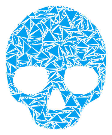 Skull mosaic of triangle elements in variable sizes and shapes. Vector polygons are combined into skull illustration. Geometric abstract vector illustration. Illustration