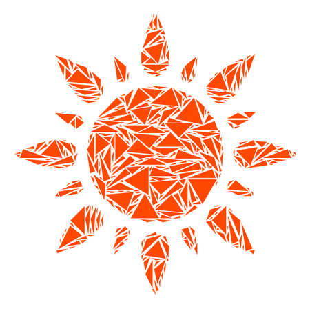 Sun collage of triangle elements in variable sizes and shapes. Vector polygons are combined into sun illustration. Geometric abstract vector illustration.