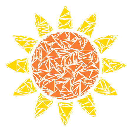 Sun mosaic of triangle elements in various sizes and shapes. Vector triangles are grouped into sun mosaic. Geometric abstract vector illustration.