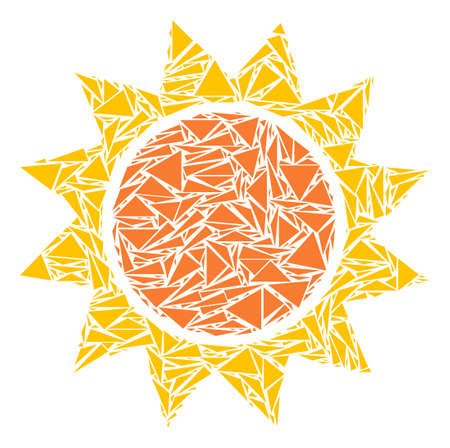 Sun mosaic of triangle elements in various sizes and shapes. Vector polygons are composed into sun illustration. Geometric abstract vector illustration. Ilustração
