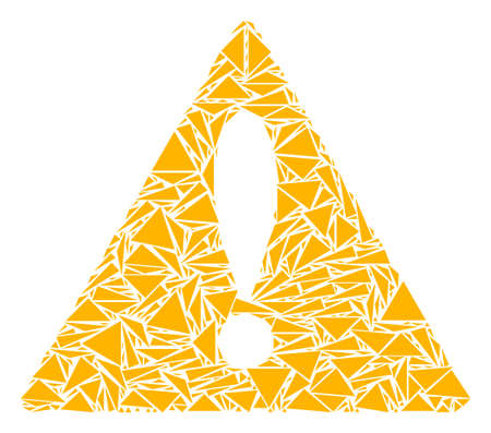 Warning collage of triangle items in various sizes and shapes. Vector triangles are arranged into warning illustration. Geometric abstract vector illustration.