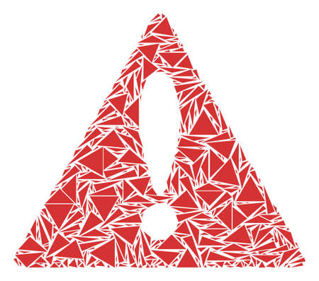 Warning collage of triangle items in various sizes and shapes. Vector triangles are grouped into warning illustration. Geometric abstract vector illustration.