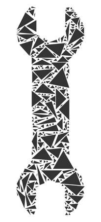 Wrench collage of triangle elements in variable sizes and shapes. Vector triangles are grouped into wrench illustration. Geometric abstract vector illustration.