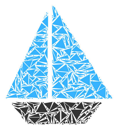 Yacht mosaic of triangle elements in different sizes and shapes. Vector triangles are composed into yacht illustration. Geometric abstract vector illustration.