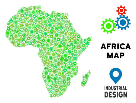 Gear Africa map collage of small wheels. Abstract territory plan in green shades. Vector Africa map is formed of gear wheels. Concept for technician workshop. Illustration