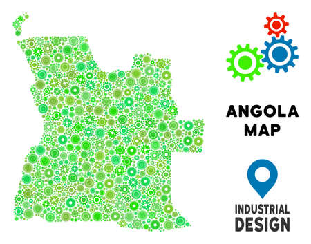 Gear Angola map composition of small gearwheels. Abstract territory scheme in green color tones. Vector Angola map is formed from gearwheels. Concept of maintenance service. Illustration