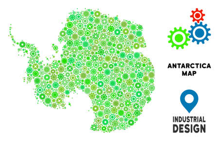 Gear Antarctica map collage of small wheels. Abstract geographic plan in green shades. Vector Antarctica map is designed of gear wheels. Concept for mechanic workshop.