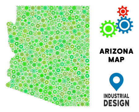 Gear Arizona State map mosaic of small gearwheels. Abstract territory plan in green color tinges. Vector Arizona State map is formed of mechanic parts. Concept of tuning service.
