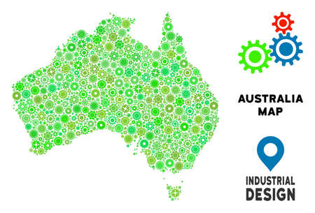 Gear Australia map composition of small wheels. Abstract territory scheme in green color tinges. Vector Australia map is organized of gear wheels. Concept of tuning workshop.