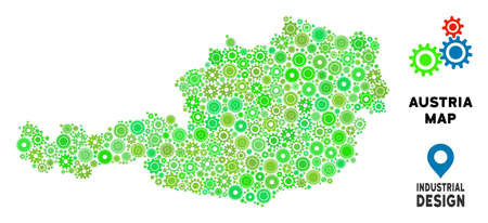 Gear Austria map mosaic of small wheels. Abstract territory plan in green color hues. Vector Austria map is created with gear wheels. Concept of maintenance work.