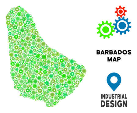 Gear Barbados map mosaic of small wheels. Abstract territory plan in green color tinges. Vector Barbados map is organized from gear wheels. Concept for mechanic service.