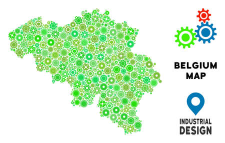 Gear Belgium map composition of small wheels. Abstract territorial plan in green color tints. Vector Belgium map is done of gearwheels. Concept of mechanic service.