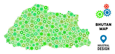 Gear Bhutan map mosaic of small cogwheels. Abstract territory plan in green color hues. Vector Bhutan map is shaped of gear wheels. Concept of technician job.