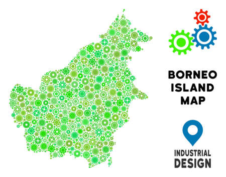 Gear Borneo Island map mosaic of small cogwheels. Abstract territorial scheme in green shades. Vector Borneo Island map is created of engine objects. Concept of technician job.
