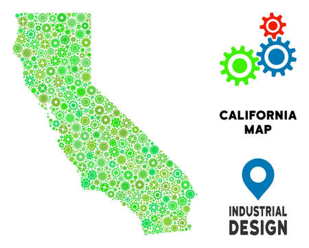 Gear California map composition of small wheels. Abstract territory scheme in green color tints. Vector California map is composed of cogwheels. Concept of industrial workshop. Ilustração