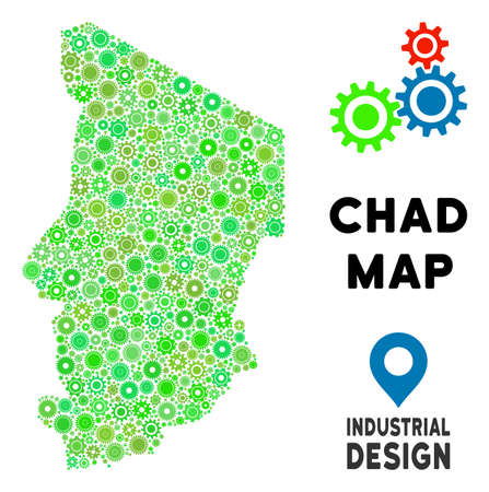 Gear Chad map composition of small wheels. Abstract territorial plan in green color hues. Vector Chad map is made of gear wheels. Concept of mechanic job.