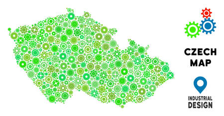 Gear Czech map mosaic of small cogs. Abstract territorial plan in green color tinges. Vector Czech map is created of gear wheels. Concept of technical workshop.