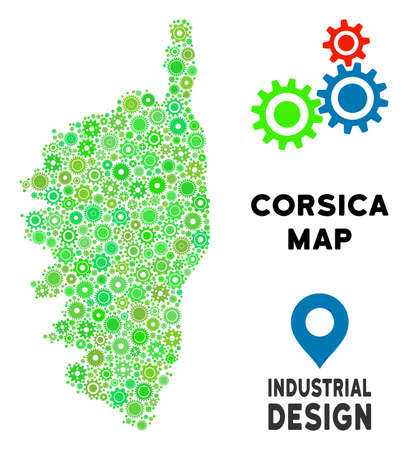 Gear Corsica France Island map mosaic of small cogs. Abstract territorial scheme in green color tints. Vector Corsica France Island map is composed of cogs. Concept of technician company.