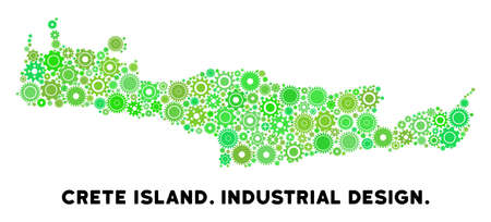 Gear Crete Island map collage of small cogs. Abstract territory plan in green color hues. Vector Crete Island map is made of engine objects. Concept of technical workshop.