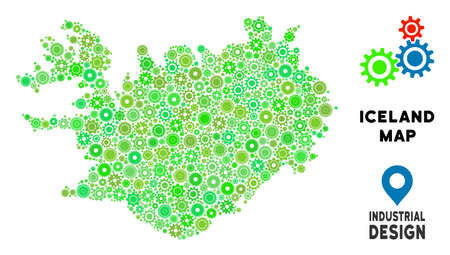 Gear Iceland map mosaic of small wheels. Abstract territorial scheme in green color tones. Vector Iceland map is created with mechanic parts. Concept of mechanic service.