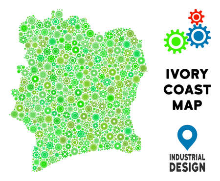 Gear Ivory Coast map composition of small gearwheels. Abstract territorial scheme in green color tints. Vector Ivory Coast map is made of gear wheels. Concept of technician work. 写真素材 - 103551835