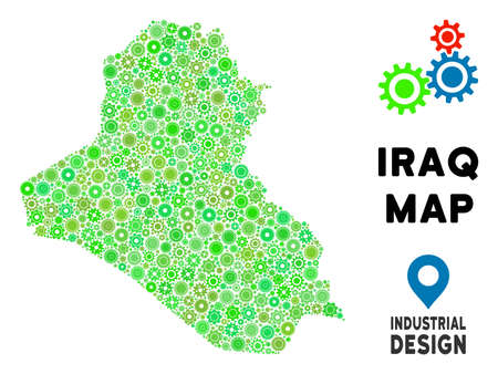Gear Iraq map composition of small wheels. Abstract territory scheme in green color tinges. Vector Iraq map is composed of gear wheels. Concept for technician company.