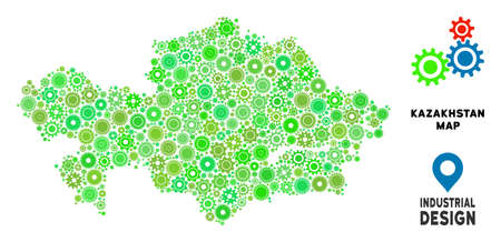 Gear Kazakhstan map composition of small cogwheels. Abstract territorial scheme in green color tinges. Vector Kazakhstan map is formed of cogwheels. Concept of maintenance work. Illustration