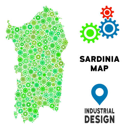 Gear Italian Sardinia Island map composition of small cogwheels. Abstract geographic plan in green color tints. Vector Italian Sardinia Island map is formed from gear wheels. Concept of tuning job.