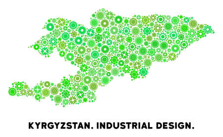 Gear Kyrgyzstan map collage of small cogwheels. Abstract geographic scheme in green color tints. Vector Kyrgyzstan map is shaped of gears. Concept of technical service.
