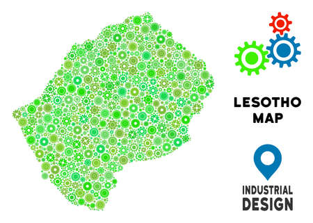 Gear Lesotho map collage of small wheels. Abstract territory plan in green color tones. Vector Lesotho map is shaped of gear wheels. Concept of industrial service.