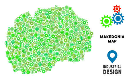 Gear Macedonia map composition of small wheels. Abstract territory plan in green shades. Vector Macedonia map is organized of gear wheels. Concept of technical workshop.