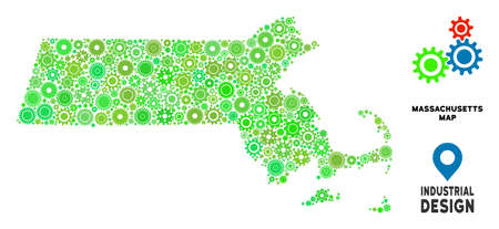 Gear Massachusetts State map mosaic of small cogwheels. Abstract territorial scheme in green color tones. Vector Massachusetts State map is organized of gear wheels. Concept of technician work.