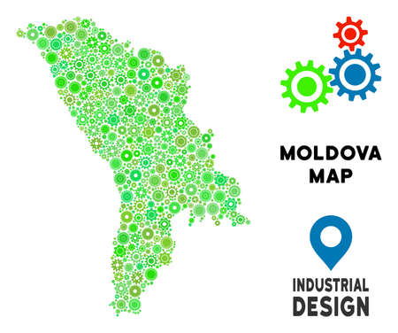Gear Moldova map composition of small wheels. Abstract territorial plan in green color tinges. Vector Moldova map is organized of gear wheels. Concept for technician workshop.
