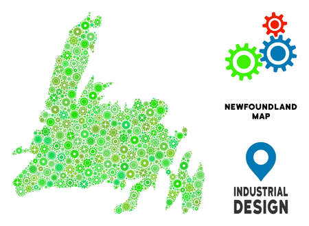 Gear Newfoundland Island map mosaic of small cogwheels. Abstract territory plan in green color tints. Vector Newfoundland Island map is designed of gear wheels. Concept of technician job. Illustration