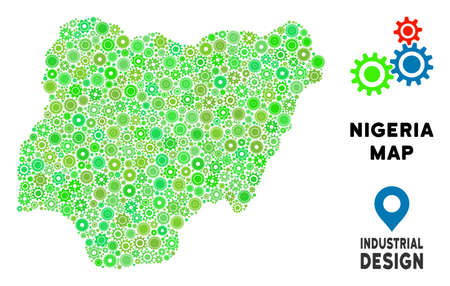 Gear Nigeria map collage of small cogs. Abstract territory plan in green color tints. Vector Nigeria map is constructed of gear wheels. Concept for industrial work.