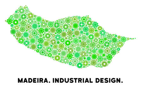 Gear Portugal Madeira Island map composition of small wheels. Abstract geographic plan in green shades. Vector Portugal Madeira Island map is composed with gear wheels. Concept of tuning service. Ilustração