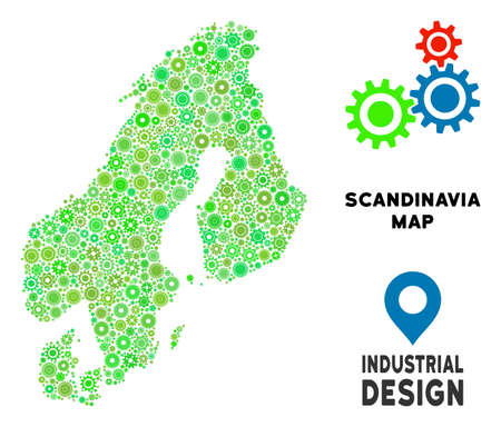 Gear Scandinavia map collage of small wheels. Abstract territory scheme in green color tones. Vector Scandinavia map is organized from gear wheels. Concept of industrial work.