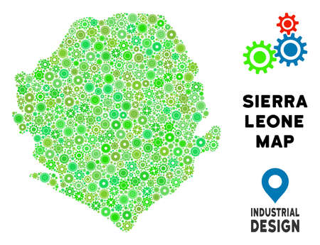 Gear Sierra Leone map collage of small wheels. Abstract territorial scheme in green color hues. Vector Sierra Leone map is made from gear wheels. Concept of tuning workshop. Illustration