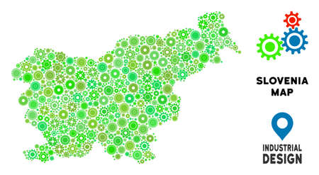 Gear Slovenia map mosaic of small cogs. Abstract geographic scheme in green color tints. Vector Slovenia map is created of cogs. Concept of mechanic service. Illustration