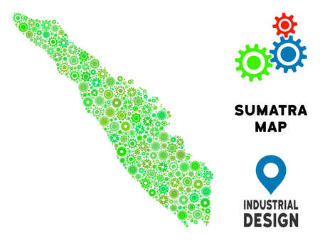 Gear Sumatra Island map composition of small wheels. Abstract territory scheme in green color tones. Vector Sumatra Island map is designed with engine objects. Concept of tuning job.