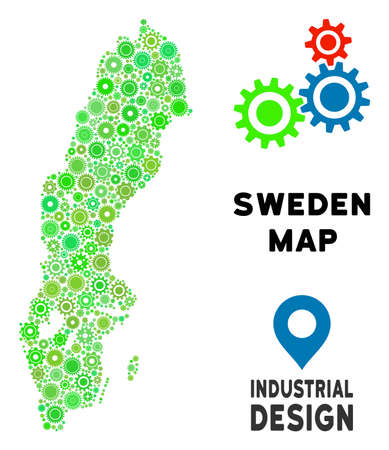 Gear Sweden map collage of small wheels. Abstract geographic plan in green color tones. Vector Sweden map is created from gear wheels. Concept of maintenance company.