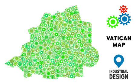 Gear Vatican map collage of small cogwheels. Abstract territorial scheme in green shades. Vector Vatican map is organized from cogwheels. Concept of industrial job. Çizim