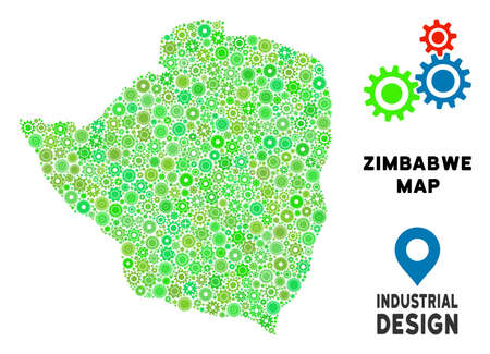 Gear Zimbabwe map collage of small gearwheels. Abstract territory scheme in green color tinges. Vector Zimbabwe map is constructed of gearwheels. Concept of technical company.