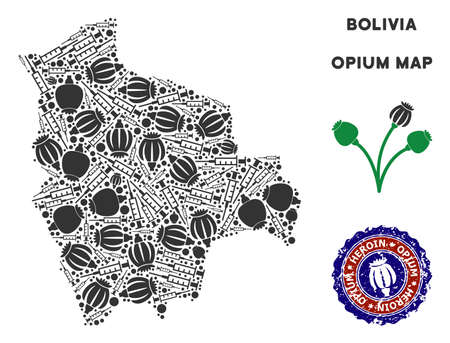 Opium addiction Bolivia map mosaic of poppy heads and syringes. Concept for narcotic addiction campaign against heroin dependence.